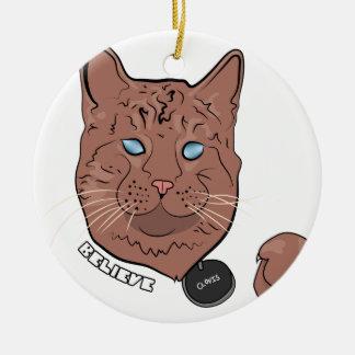 Clovis cree con la etiqueta adorno navideño redondo de cerámica
