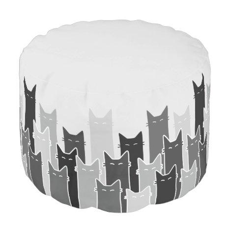 Clowder of Grey Cats Round Pouf