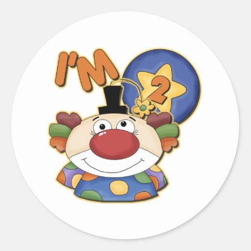Clown 2nd Birthday Greeting Card Classic Round Sticker