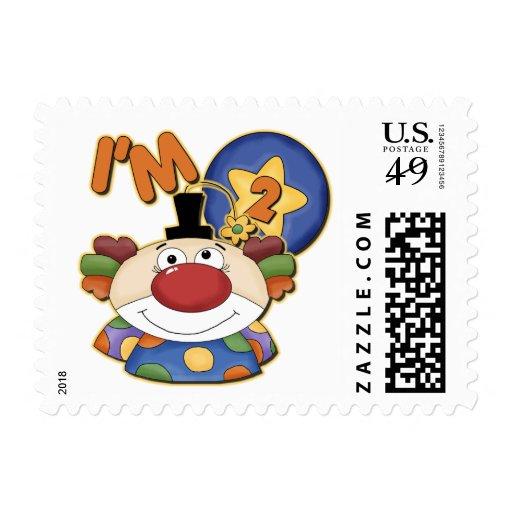 Clown 2nd Birthday Greeting Card Postage Stamp