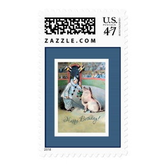 Clown and Pig - Cute Happy Birthday Stamp