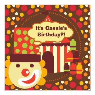 Clown and Polka Dots Circus Birthday Invites