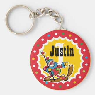Clown Around 1st Birthday Custom Keychain