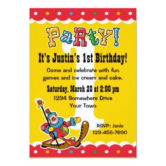 Clown Around 1st Birthday Party Invitations