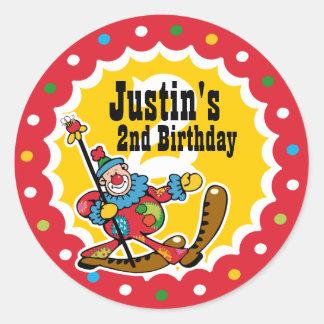 Clown Around 2nd Birthday Custom Sticker