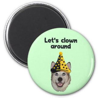 Clown Around Dog Fridge Magnets