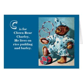 Clown Bear Charley - Letter C - Vintage Teddy Bear Card