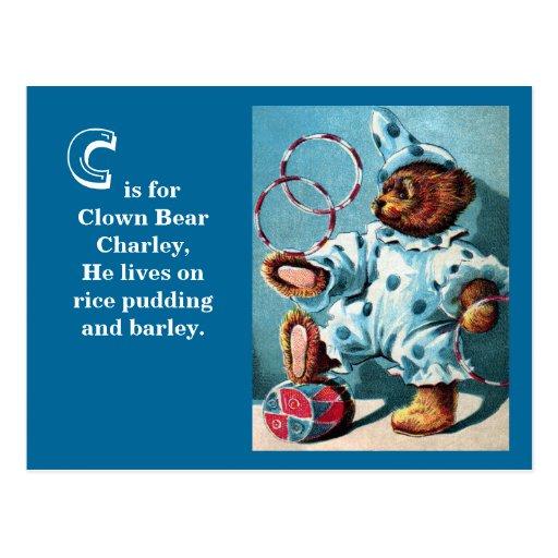 Clown Bear Charley - Letter C - Vintage Teddy Bear Postcards