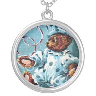 Clown Bear Charley - Letter C - Vintage Teddy Bear Round Pendant Necklace