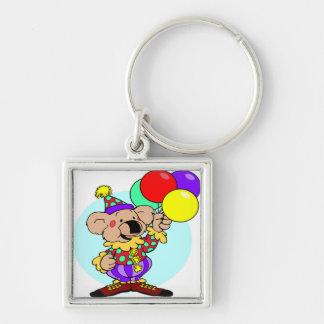 Clown bear holding balloons keychain