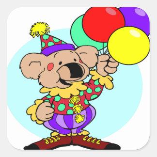Clown bear holding balloons square sticker