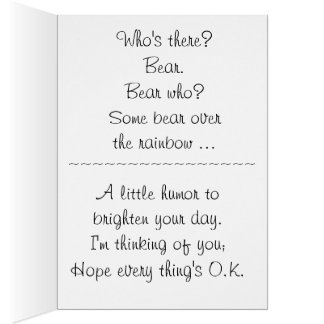 Knock jokes cards greeting photo cards zazzle clown bear knock knock joke greeting card stopboris Image collections