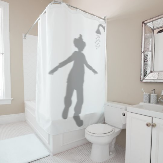 Clown Behind Silhouette Shadow Halloween Scary Shower Curtain