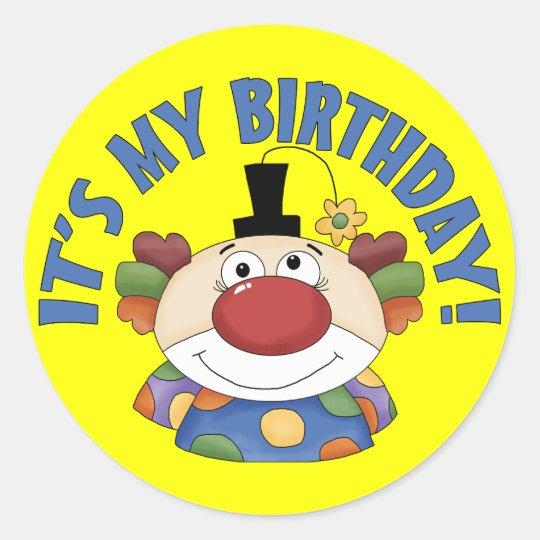 Clown Birthday Classic Round Sticker