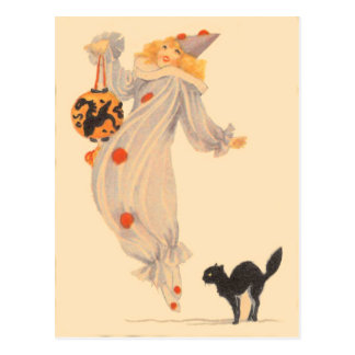 Clown Black Cat Costume Trick Or Treat Postcard