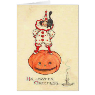 Clown Black Cat Jack O Lantern Pumpkin Card