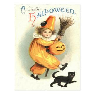 Clown Black Cat Jack O Lantern Pumpkin Postcard