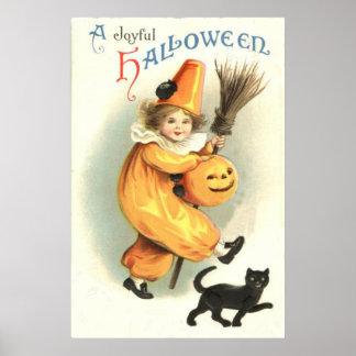 Clown Black Cat Jack O Lantern Pumpkin Poster