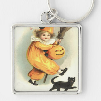 Clown Black Cat Jack O Lantern Pumpkin Silver-Colored Square Keychain