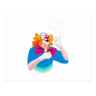 clown blowing bubbles postcard