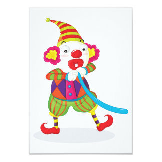 Clown Blowing Up Balloons Invitations