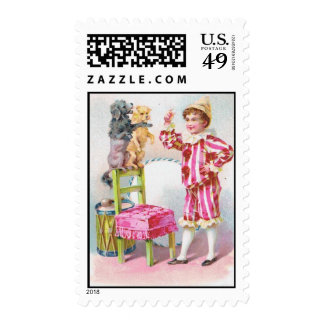 Clown Boy & Circus Dogs Stamps