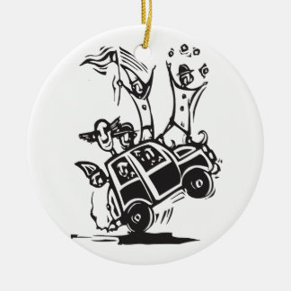 Clown Car Ceramic Ornament
