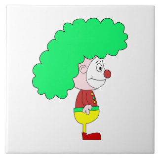 Clown Cartoon. Yellow, red and green. Ceramic Tile