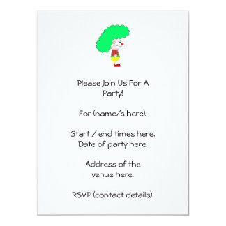 Clown Cartoon. Yellow, red and green. 6.5x8.75 Paper Invitation Card