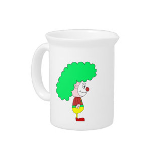 Clown Cartoon. Yellow, red and green. Pitcher