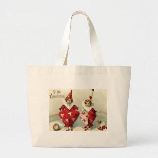 Clown Children Dog Ball Heart Large Tote Bag