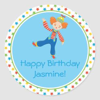 Clown | Circus Theme | Personalized Classic Round Sticker