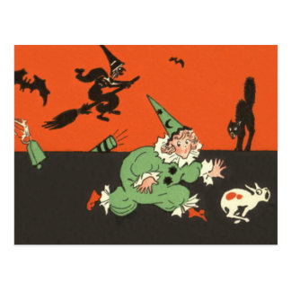 Clown Dog Witch Bat Black Cat Skeleton Postcard