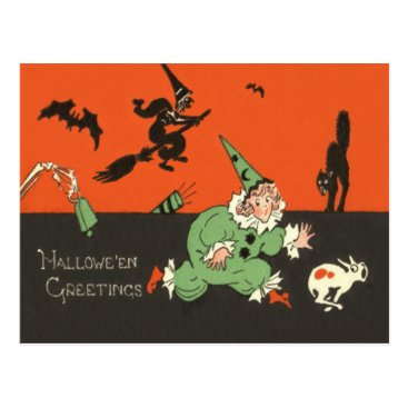 Halloween Themed Clown Dog Witch Bat Black Cat Skeleton Postcard