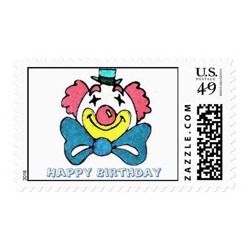 Clown face, Happy Birthday Postage