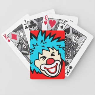 Clown face red blue fun boys playing cards