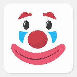 Clown Face Square Sticker