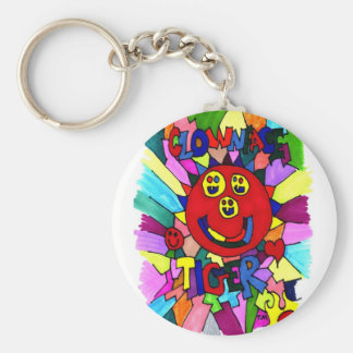 Clown Face Tiger Key Chain, Colorful