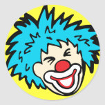 Clown face with blue hair smile sticker