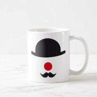 clown face with hat, red nose and mustache coffee mug