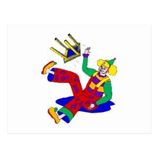 Clown fell off stool postcard