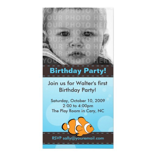 Clown Fish Birthday Party Photo Card