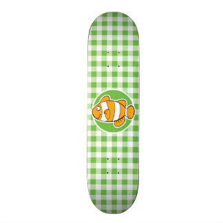 Clown Fish; Green Gingham Skate Decks