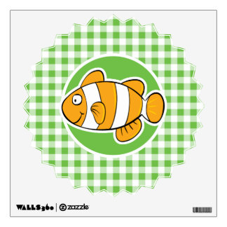 Clown Fish; Green Gingham Wall Decal