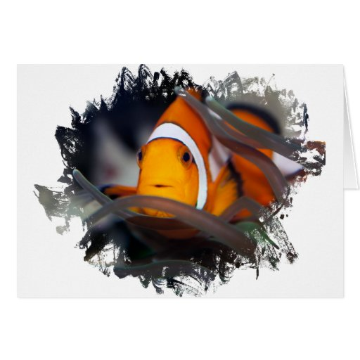 Clown-fish in anemone card