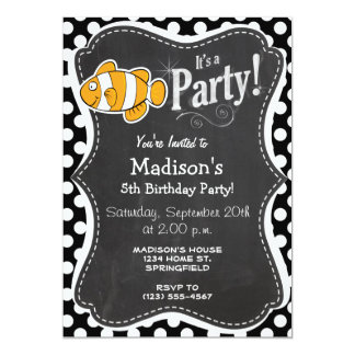 Clown fish on Black and White Polka Dots 5x7 Paper Invitation Card