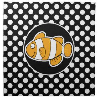 Clown fish on Black and White Polka Dots Napkin