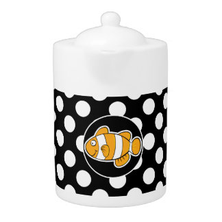 Clown fish on Black and White Polka Dots