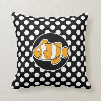 Clown fish on Black and White Polka Dots Throw Pillow