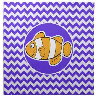 Clown Fish on Blue Violet Chevron Napkin